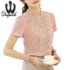 Free Shipping - Summer blouse lace embroidery Chiffon shirt Short slee – SilkRoads Online