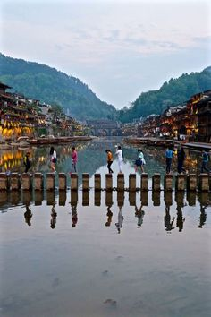 Jumping Rocks at Fenghuang Ancient City, Hunan, China Beautiful Places To Visit, Cool Places To Visit, Places To Travel, Places To Go, Travel Destinations, Travel Around The World, Around The Worlds, Ancient City, China Architecture