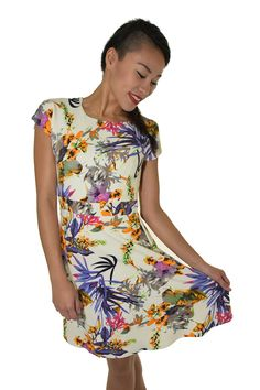 PSL Floral Fit and Flare in Purple Floral Short Sleeve Dresses, Dresses With Sleeves, Fit And Flare, Purple, Floral, Fitness, Casual, Fashion, Moda