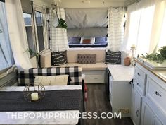 Reader Features Archives - The Pop Up Princess Devon took a tired Coleman Sun Ridge pop up camper from drab to fab with a little fabric, paint, and hard work. The result is a gorgeous boho-themed camper. Camper Curtains, Camper Beds, Pop Up Tent Trailer, Trailer Decor, Popup Camper Remodel, Camper Renovation, Camper Remodeling, Devon, Coleman Pop Up Campers