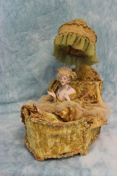 ELABORATE Antique German Bisque Half Doll with Lamp Flapper Style c,1920