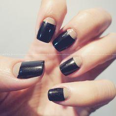 Finally made my Halfmoon Mani. <3    #nail #nailart #nails #naildesign