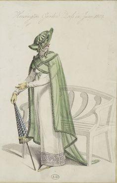 "Unknown Publication, June 1809, From the Bibliothèque des Arts Décoratifs via SceneInThePast flickr.  ""Kensington Garden Dress in June 1809"""
