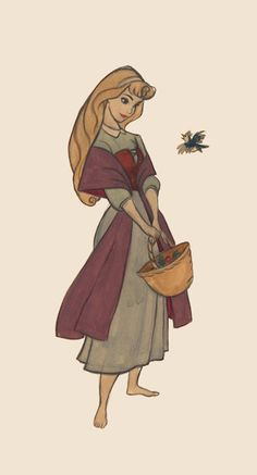 The Beautiful Wardrobes From Princess Visual Development Art -- Aurora looks very much the same as she does in the final film; a sweet peasant girl with a shawl and demure dress