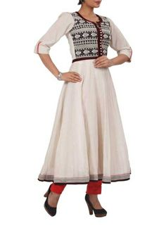White Fish Anarkali Dress by Preeti Wanchoo | Indian Designers