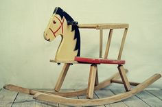 Vintage Childrens Wooden Rocking Horse