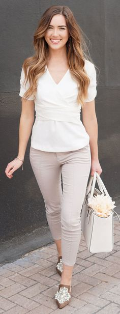 THE BEST NUDE TONE OUTFIT FOR SPRING // most flattering cargo pants (also come in army green) and white wrap top from Dynamite - affordable under $40! Worn by Marie's Bazaar with pearl mules under $40! #fashion #outfit #style #outfitidea #outfitinspiration #nudetones #neutral #spring #springoutfit #beige #white #pearls