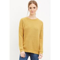 Forever 21 Chunky Ribbed Knit Sweater ($23) ❤ liked on Polyvore featuring tops, sweaters, full length sweater, forever 21, beige top, ribbed knit sweater and forever 21 sweaters