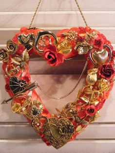 Shabby Chic Hearts and Roses Jeweled Valentine Heart, Mosaic Jewelry Heart, Vintage Jewelry Mosaic Vintage Costume Jewelry, Vintage Costumes, Vintage Jewelry, Scarf Holder, Shabby Chic Hearts, Hearts And Roses, Heart Wreath, Wreath Forms, Valentine Heart