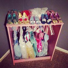 Princess closet made out of a 5 drawer dresser!!!!
