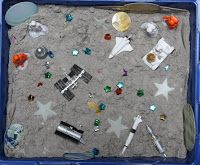 Space Theme sensory tub using ~ moon sand; glow in the dark stars; glow in the dark planets; Space Preschool, Space Activities, Sensory Activities, Activities For Kids, Preschool Ideas, Learning Activities, Sensory Tubs, Sensory Boxes, Sensory Play