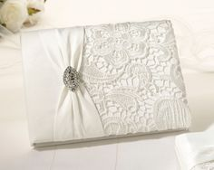 Vintage Lace Guest Book -Cream