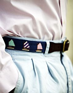 A nice nautical themed belt with sailboats