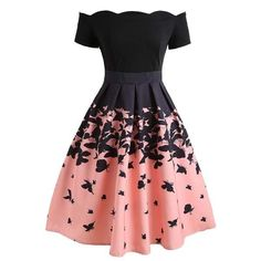 Black Butterfly Swing Dress A sweet dress in fabulous vintage appeal fresh from Retro Stage. A gorgeous vintage style dress full of feminine radiance, the gorgeous pink and black silhouette is dancing with butterfly throughout the Cute Prom Dresses, Elegant Dresses, Pretty Dresses, Beautiful Dresses, Short Dresses, Maxi Dresses, Casual Dresses, Summer Dresses, Formal Dresses