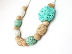 Mint green beige ivory white necklace with flower Nursing teething jewelry Floral Gift for new mom Baby shower Boho Shabby chic on Etsy, $22.00