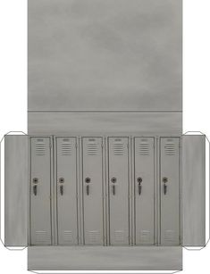Set of metal grey Lockers