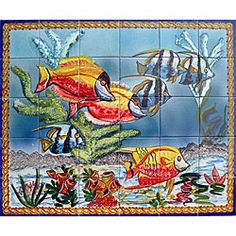 @Overstock.com - Mosaic 'Aquarium Fish' 30-tile $305 Ceramic Wall Mural - Ceramic 'Aquarium Fish' wall art is hand-painted in exotic TunisiaHandmade wall mural can be used for indoor or outdoor home decorTile installation makes an ideal home improvement project  http://www.overstock.com/Home-Garden/Mosaic-Aquarium-Fish-30-tile-Ceramic-Wall-Mural/3832111/product.html?CID=214117 $309.99