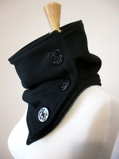 Black Wool Neck Warmer Scarf with Large Anchor Buttons