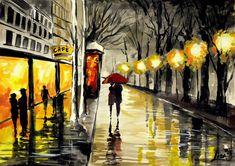 Original Watercolor Painting - Wet Night In Paris - Original Fine Art  Contemporary - Urban Landscape - A Couple With Umbrella. $45.00, via Etsy.