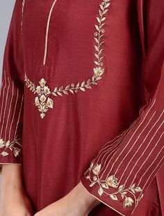 Red Embroidered Silk Chanderi Kurta - All About Embroidery Suits Punjabi, Embroidery On Kurtis, Hand Embroidery Dress, Embroidery Fashion, Indian Embroidery, Modern Embroidery, Flower Embroidery, Dress Neck Designs, Designs For Dresses
