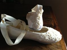 Such beautiful ballet shoes.   Custom Bridal Lace Flats  Ballet Style Bride by LaBoutiqueBride, $96.00