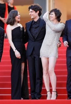 """(from left to right) Marion Cotillard, Louis Garrel and Charlotte Gainsbourg attend the """"Ismael's Ghosts"""" screening and Opening Gala during the 70th annual Cannes Film Festival at Palais des Festivals on May 17, 2017 in Cannes, France."""