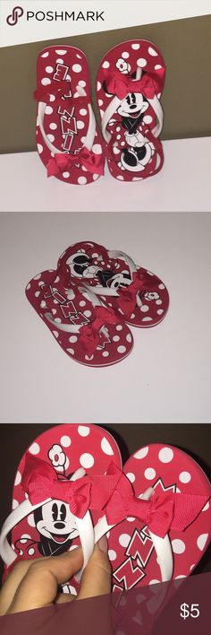 Minnie Mouse flip flops Super cute and gently used flip flops with elastic band for heel. C9/10 Disney Shoes Sandals & Flip Flops