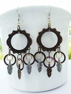 Feather Earrings Dream Catcher Boho Tribal Mixed door LockedAndLoved