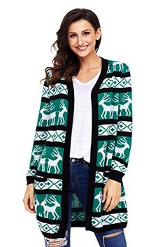 "Product review for SheShy Women Christmas Sweater Casual Open Front Long Sleeve Cardigan Sweater with Pocket.  SheShy Reindeer Merry Christmas Holiday Pullover Long Cardigans Long Sleeve Knit Sweater Size Information(Inch): (US 4-6)Small (Bust 39.76"") (Shoulder 15.16"") (Sleeve 22.24"") (Length 32.68"") (US 8-10)Medium (Bust 41.73"") (Shoulder 16.14"") (Sleeve 22.83"")..."