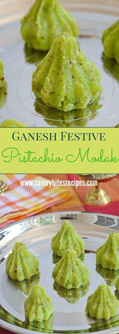 Ganesh Festival Sweet - Delicious Moist Pistachio Khoya Modak for the festival of Chaturthi!