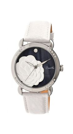 Bertha White Daphne Mother-of-Pearl Leather-Strap Watch