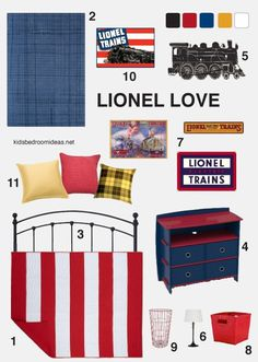 Bedroom idea inspired by Lionel trains and the patriotic colors used in their vintage ads. Click through to find where to get all those things.