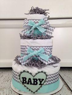Mint Jubilee Chevron Diaper Cake Baby Shower par AllDiaperCakes