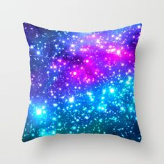 Purple blue Bright Galaxy Throw Pillow Cushion by WhimsyRomance&Fun Mermaid Room Decor, Unicorn Room Decor, Unicorn Bedroom, Galaxy Bedroom, Galaxy Bedding, Room Ideas Bedroom, Girls Bedroom, Dream Rooms, Dream Bedroom