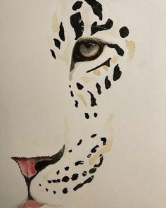 Watercolour painting of leopard Big Cats Art, Cat Art, Fabric Painting, Painting & Drawing, Animal Drawings, Art Drawings, Arte Latina, Leopard Tattoos, Tiger Art