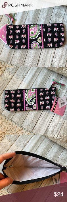 Vera Bradley Pink Elephants Pencil Cosmetic bag New with Tag Vera Bradley Bags Cosmetic Bags & Cases