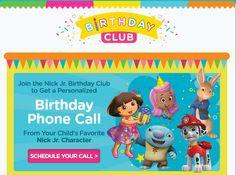 Nick Jr. Birthday Club - Free Personalized Birthday Call!