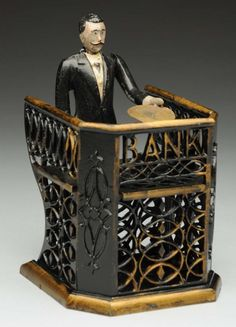 banking teller Lot # : 529 - Bank Tell - banking Antique Decor, Vintage Antiques, Weird Toys, Bank Teller, Antique Coins, Tin Toys, Credit Cards, Decoration, Vintage Toys