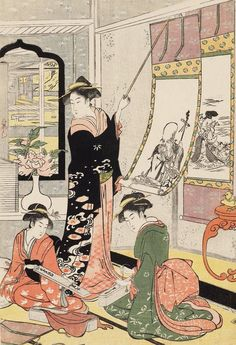 Women Viewing Scroll Paintings of the Gods of Good Fortune.  Ukiyo-e woodblock print.  About 1810's, Japan, by artist Chobunsai Eishi