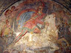 Tauroctony fresco in the mithraeum of Capua, 2nd century, The mithraeum (mitreo), Capua