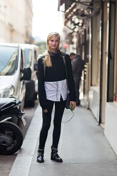 Sweater from MM, bag from Stella McCartney and boots from Zadig & Voltaire.