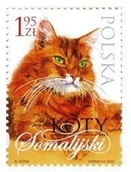 Somali Cat  | postage stamp -  Poland, 2010 | designed by Andrzej Gosik