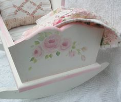 For the grad baby -Doll Cradle, Hand Painted with Pink Roses Includes Patchwork Quilt and Bedding Doll Painting, Hand Painting Art, Painting For Kids, Hand Painted Furniture, Doll Furniture, Kids Furniture, Fairy Furniture, Antique Furniture, Rosa Rose