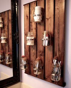 Wood backer Mason Jar Storage ~ tall x wide with 9 mason jars instead of 3 top 3 middle and 3 on the bottom.These are made to order Please contact use with any questions or design preferences before purchase SHIPPING COSTS MAY VARY DEPENDING ON LOCATION Diy Home Decor Rustic, Easy Home Decor, Home Decor Items, Cheap Home Decor, Rustic Room, Country Decor, Country Living, Mason Jar Storage, Mason Jars