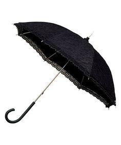 Black Retro Lace Windproof Walking Umbrella