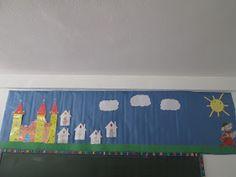 A comienzos de curso, hice este mural para decorar mi clase con los personajes de Letrilandia... Por ello, hice las casitas de las letr... Conte, Toy Chest, Flag, Toys, Home Decor, Art, Ideas, Reading, Little Cottages