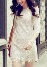 Apricot Embroidery Round Neck Seven's Sleevese Lace Dress