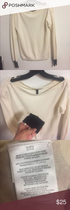 🛍BCBG PARIS Cashmere sweater🛍 3 for $20🛍 White creamy color with black at the end of sleeves. Small tare on bottom right side. A little see through. Thin. 100% cashmere. Super soft & cozy!🖤👌🏼 BCBG PARIS Sweaters Crew & Scoop Necks