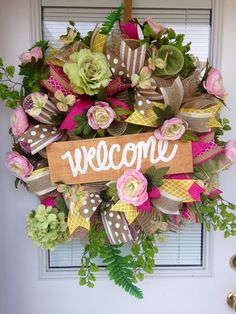Welcome Deco Mesh Wreath, Summer Deco Mesh Wreath, Summer Deco Mesh Wreath by YourCountryTreasures on Etsy https://www.etsy.com/listing/532472623/welcome-deco-mesh-wreath-summer-deco
