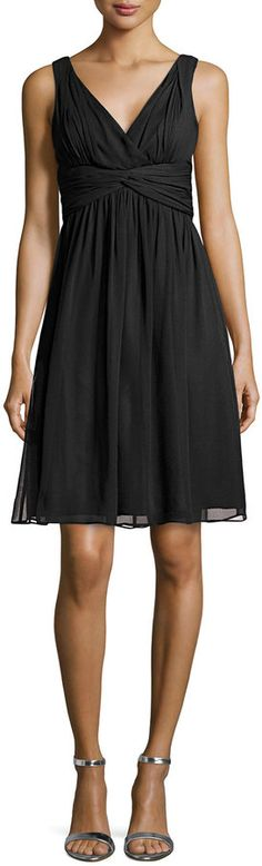 Donna Morgan Jessie Sleeveless Cocktail Dress, Black - dress for apple bodyshape